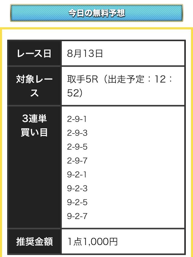 競輪カミヒトエの2019年8月13日の無料予想買い目