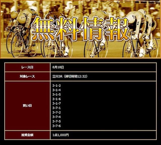 日本競輪投資会の2020年8月18日の無料予想