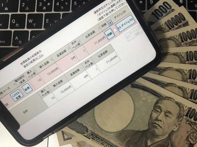 日本競輪投資会(JKI)の2020年8月18日の無料予想で獲得した現金71,000円