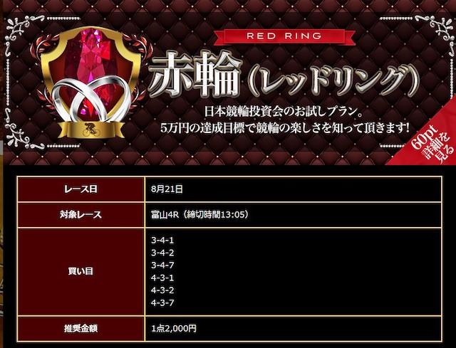日本競輪投資会(JKI)の有料予想「赤輪(レッドリング)」の2020年8月21日の買い目